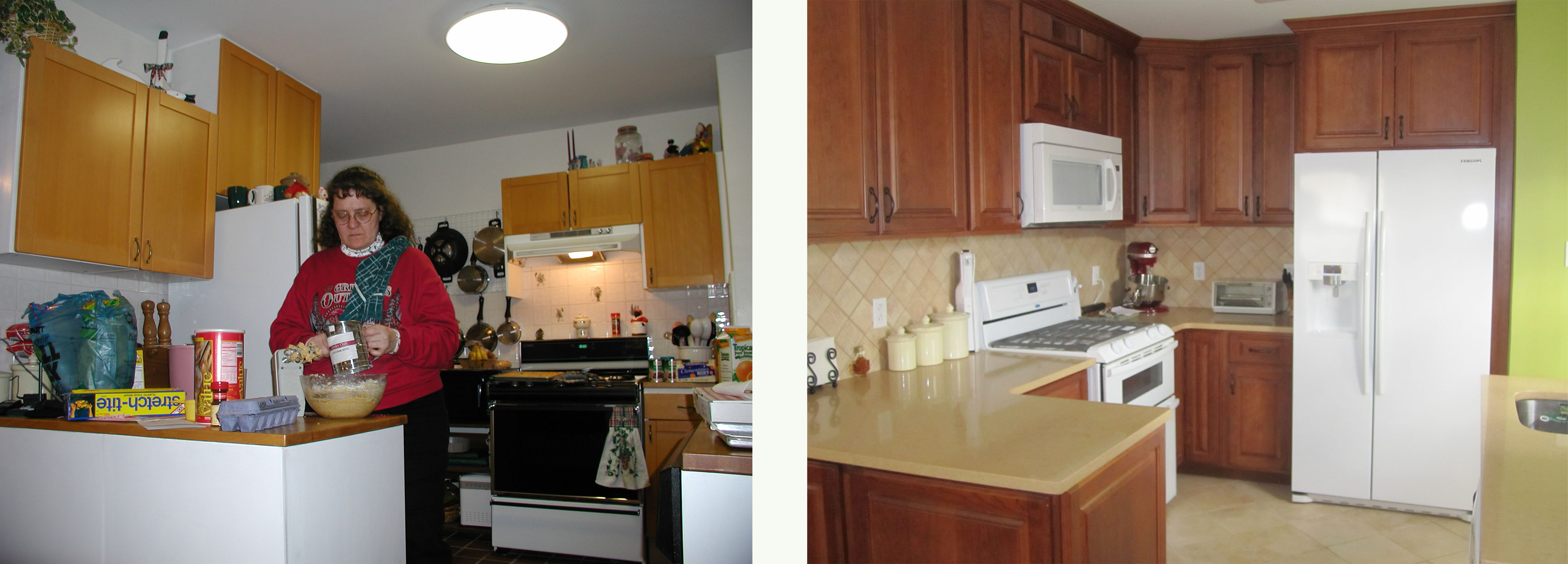 Kitchen Before And After : Overall view of both before and after kitchens.